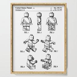 Legos Patent - Block Man Art - Black And White Serving Tray