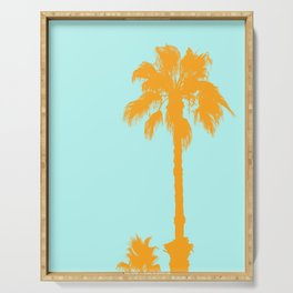 Orange palm trees silhouettes on blue Serving Tray