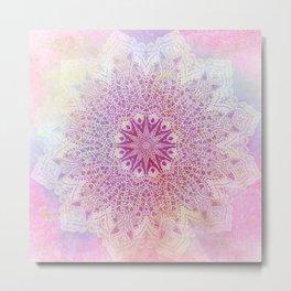 star mandala in pink mood Metal Print