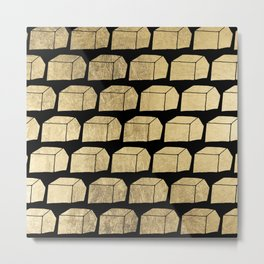 Modern abstract faux gold black geometrical shapes Metal Print