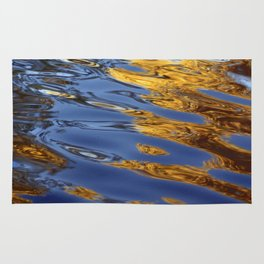 Blue and Gold Water Reflection Rug