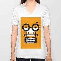 typewriter V-neck T-shirts featuring typewriter by oguzhan