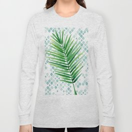 Tropical Palm Frond Watercolor Painting Long Sleeve T-shirt