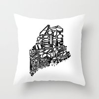 maine Throw Pillows featuring Typographic Maine by CAPow!