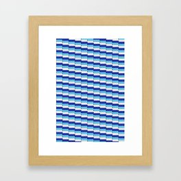 Staggered Blues and White Line Pattern Framed Art Print
