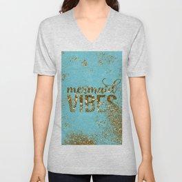 Mermaid Vibes - Gold Glitter On Teal Unisex V-Neck