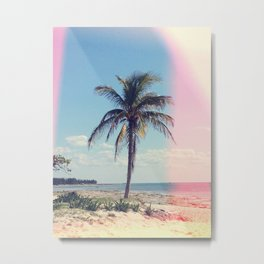 Palm Tree Light Leak Color Nature Photography Metal Print