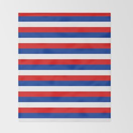 blue white red stripes Throw Blanket