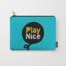 Play Nice blue black and yellow inspirational typography poster bedroom wall home decor Carry-All Pouch