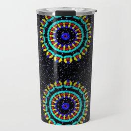 Kaleidoscope Patterns Against Black Travel Mug