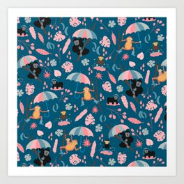 Monkeys in Rain Boots | Coral and Teal Art Print