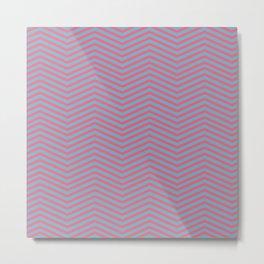 Modern pink blue geometric chevron pattern Metal Print