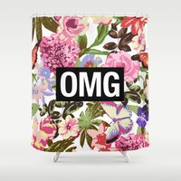 2pac Shower Curtains featuring OMG by Text Guy