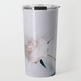 Blush Pink Peony on Marble Surface Travel Mug