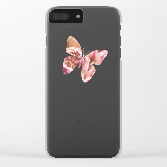 Pink Roses in a basket - Rose flowers floral Clear iPhone Case