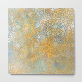 gold arabesque vintage geometric pattern Metal Print