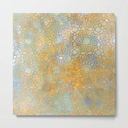 gold arabesque vintage geometric pattern Metal Print