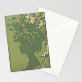 Garden Hat Chic:  Stylish Lady in hat silhouette with olive green and a bit of pink Stationery Cards
