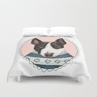 bull terrier Duvet Covers featuring Bull Terrier by Rhian Davie