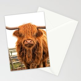 Highland Cow in a Fence Stationery Cards