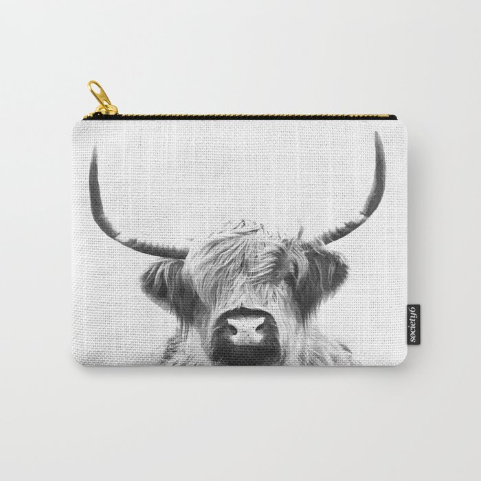 Black and White Highland Cow Portrait Carry-All Pouch