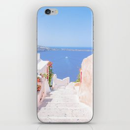 Santorini Greece Mamma Mia pink street travel photography iPhone Skin