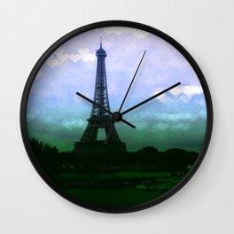 Paris Eiffel Tower Periwinkle Teal Aqua Wall Clock