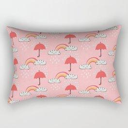 April showers rainbow Clouds Pink #nursery Rectangular Pillow