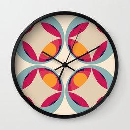 70s Retro Design Colorful Classic Abstract Minimal Retro Style Art Wall Clock