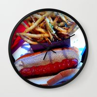 hot dog Wall Clocks featuring hot dog by smilingbug