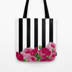 Bold Stripes with Flowers Tote Bag