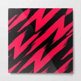 American Rose and Black Zigzag Jagged Lines Metal Print