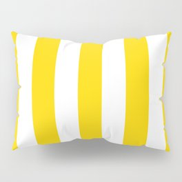 School bus yellow - solid color - white vertical lines pattern Pillow Sham