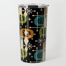 Retro Atomic Mid Century Pattern Black Orange Green and Turquoise Travel Mug
