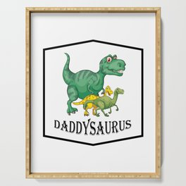 Dad Dinosaur Daddyasaur T-Rex Fathers Day Gift Serving Tray