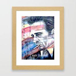 "Johnny Cash Painting ""I Walk The Line"" Framed Art Print"