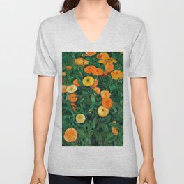 Marigolds by Koloman Moser, 1909 Unisex V-Neck