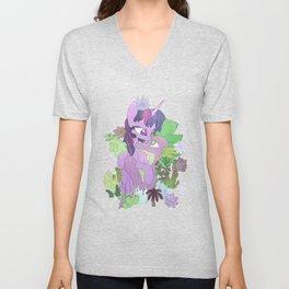 Twilight, Spike and Succulents Unisex V-Neck