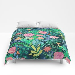 Roses + Green Messy Floral Posie Comforters