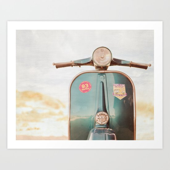 The Blue Vespa Art Print