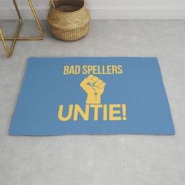 BAD SPELLERS UNTIE! (Blue) Rug