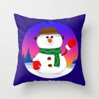 snowman Throw Pillows featuring SnowMan by tuditees