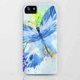 Blue Butterfly Watercolor Rainbow And Gold iPhone Case