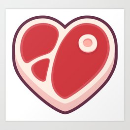 Heart shaped steak Art Print