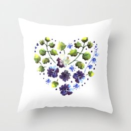 Watercolor decorative blue flowers heart Throw Pillow