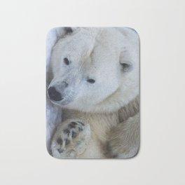 Funny Sleepy Polar bear close-up. Bath Mat