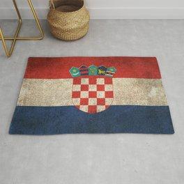 Old and Worn Distressed Vintage Flag of Croatia Rug