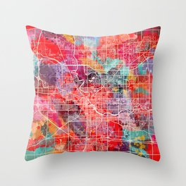 South Bend map Indiana painting 2 Throw Pillow