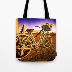 Retro Vintage Bicycle - Route 66 Midpoint at Dawn Turquoise Teal Blue and Purple Tote Bag