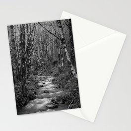 Oregon Mountain Stream and Alders Black and White Stationery Cards